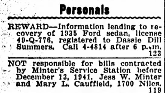 Personal 12-17-41 - Personals REWARD—Information leading to re- i...