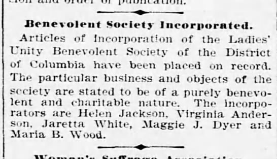 Maggie J Dyer helps start Benevolent Society 1900 -