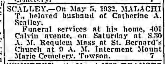 Malachi T Scalley died 5 May 1932 -