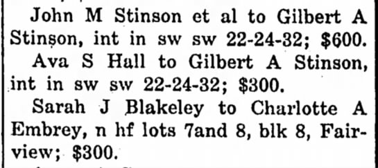 John M Stinson, Gilbert A Stinson, and Ava S Hall -