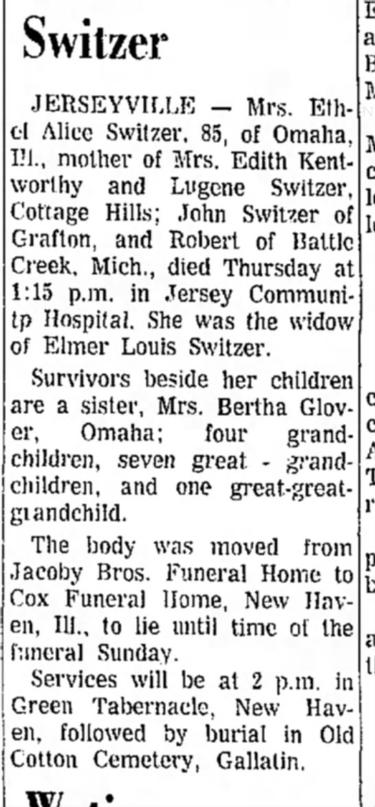 - Switzer JERSEYVILLE - Mrs. Ethel Alice Switzer,...