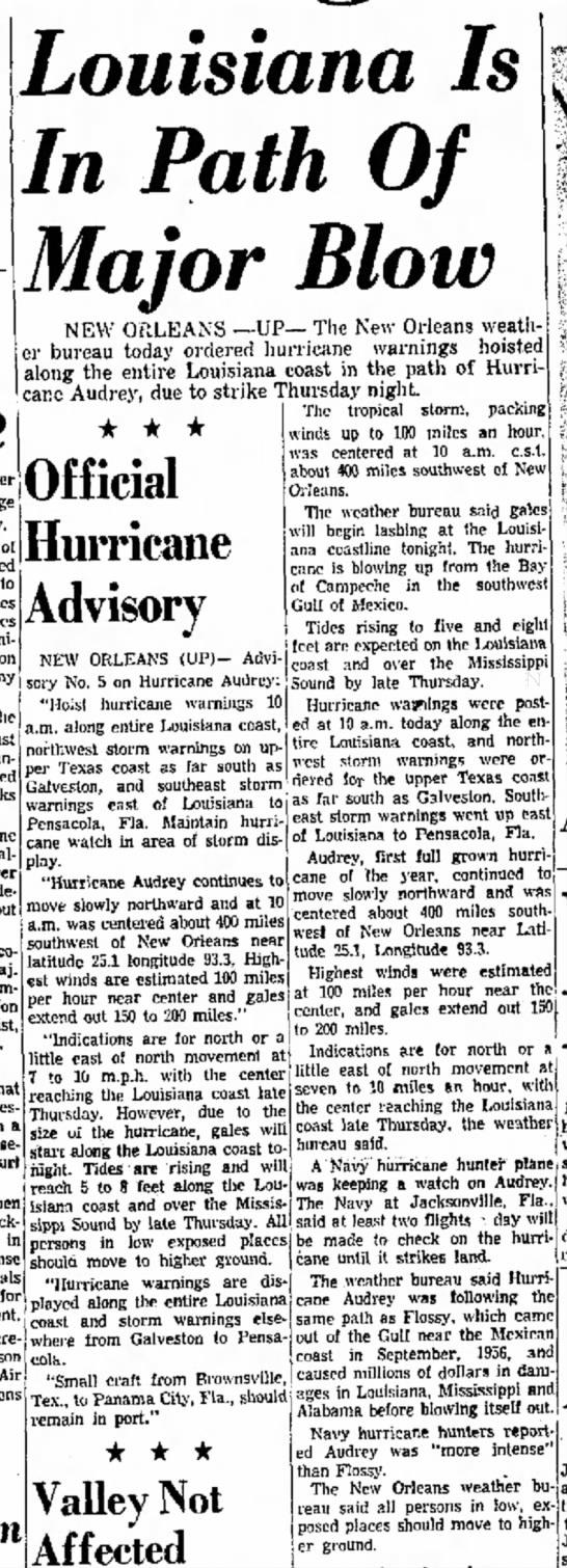 Hurricane Audrey -
