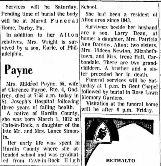 Mildred Payne - Services will be Saturday. Pending time of...
