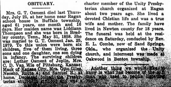 Mrs G. T. Osment (1st) obit