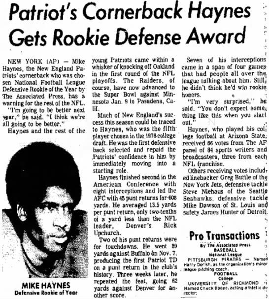 Patriot's Cornerback Haynes Gets Rookie Defense Award -