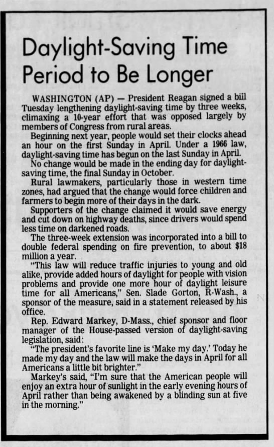 Reagan signs bill lengthening daylight saving time, 1986 -