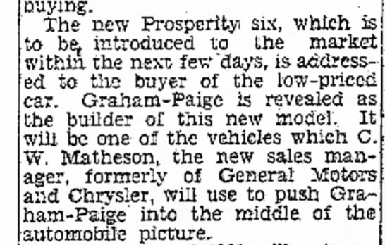 C. W. Matheson - auying. The new Prosperity six, which to be,...