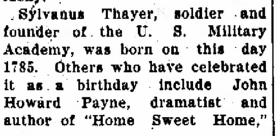 Thayer birthday - . Sylvanus Thayer, soldier and founder of the...