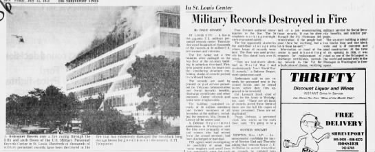 Military records destroyed in fire -