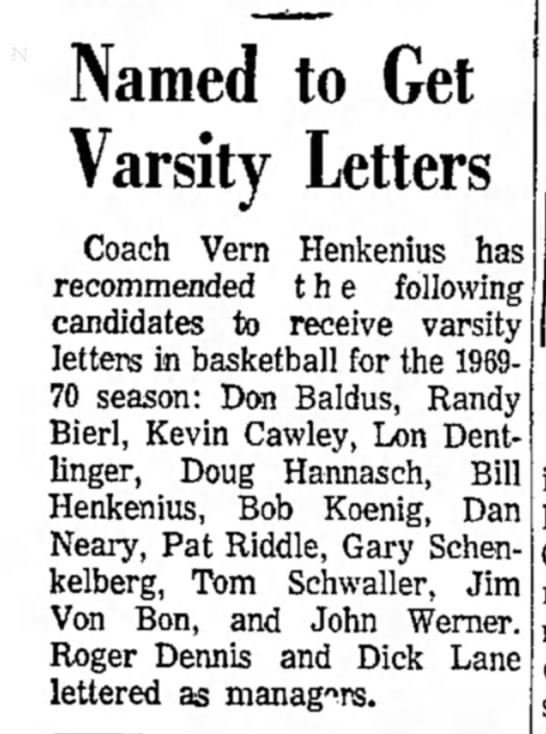 Jim Von Bon, 21 March 1970, Named to Get Varsity Letters -