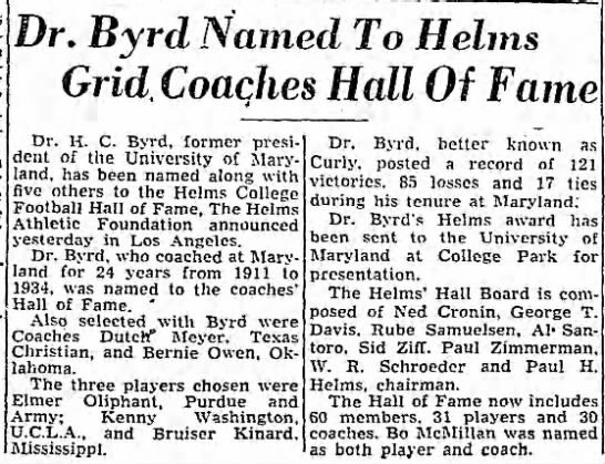 Dr. Byrd Named To Helms Grid Coaches Hall Of Fame -