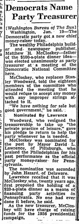 McCloskey party treasurer -