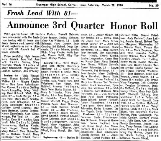 Jime Von Bon, 28 March 1970, Announce 3rd Quarter Honor Roll -
