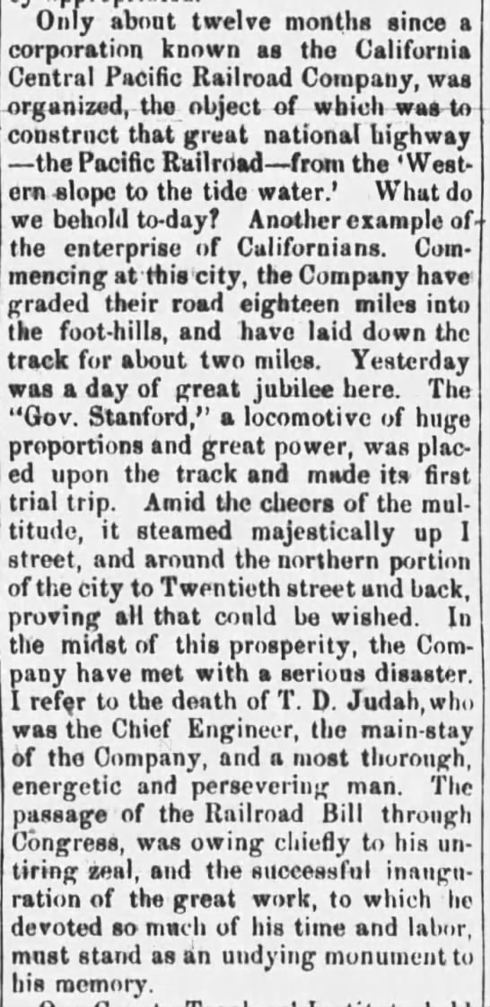 First track in the Transcontinental Railroad laid in California -