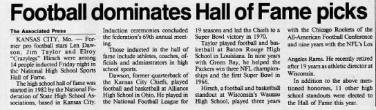 Footbal dominates Hall of Fame picks -