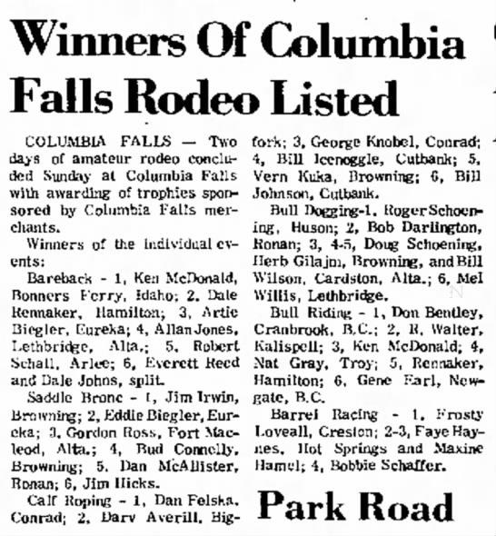 Winners of Columbia Falls Rodeo - 1968 -