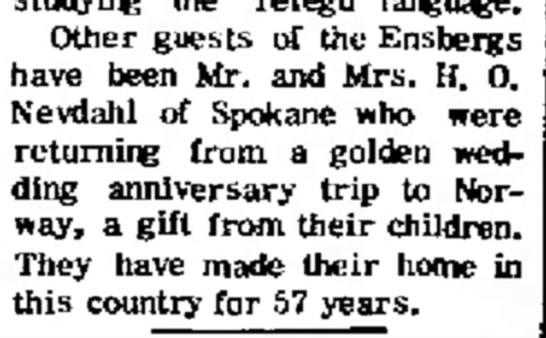 Mr. & Mrs. H. O. Nevdahl take golden anniversary trip to Norway. -