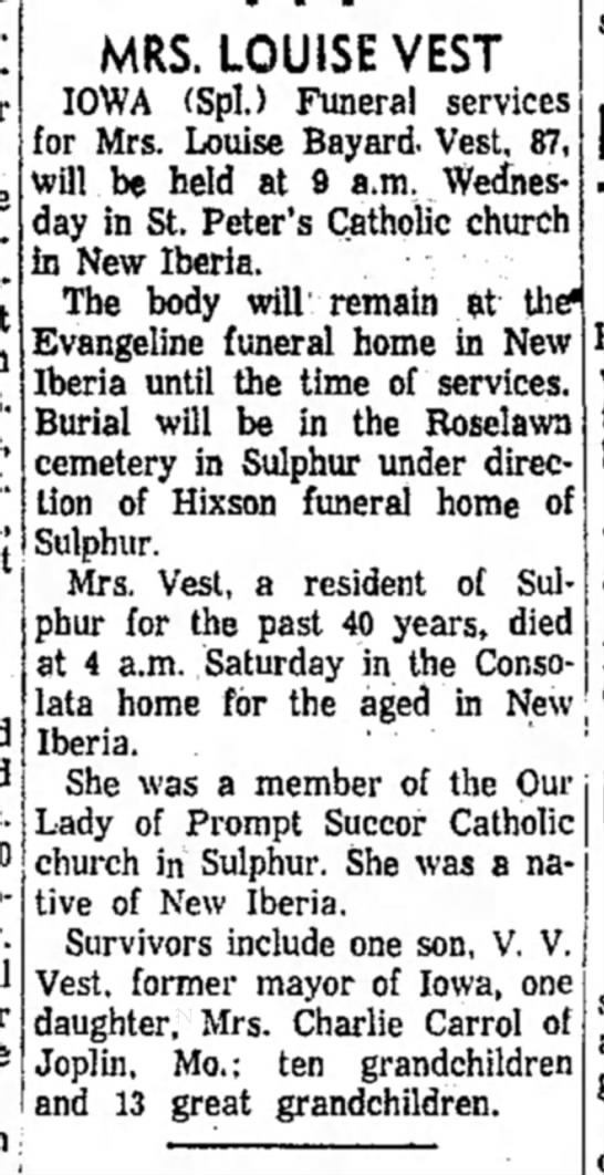 Mrs. Louise Bayard Vest Obit