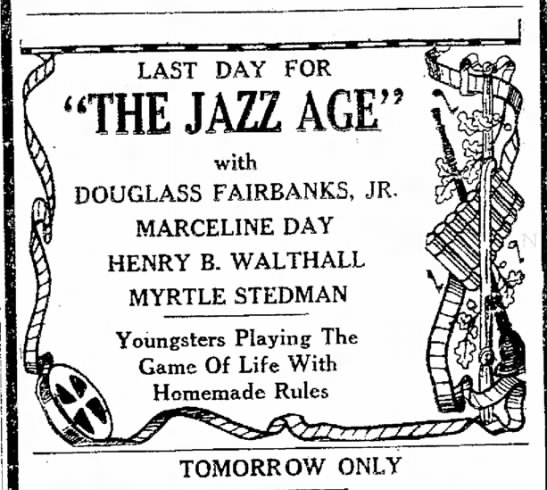 Myrtle Stedman Movie ad Teh Morning Herald Hagerstown Maryland 30 Aug 1929 -