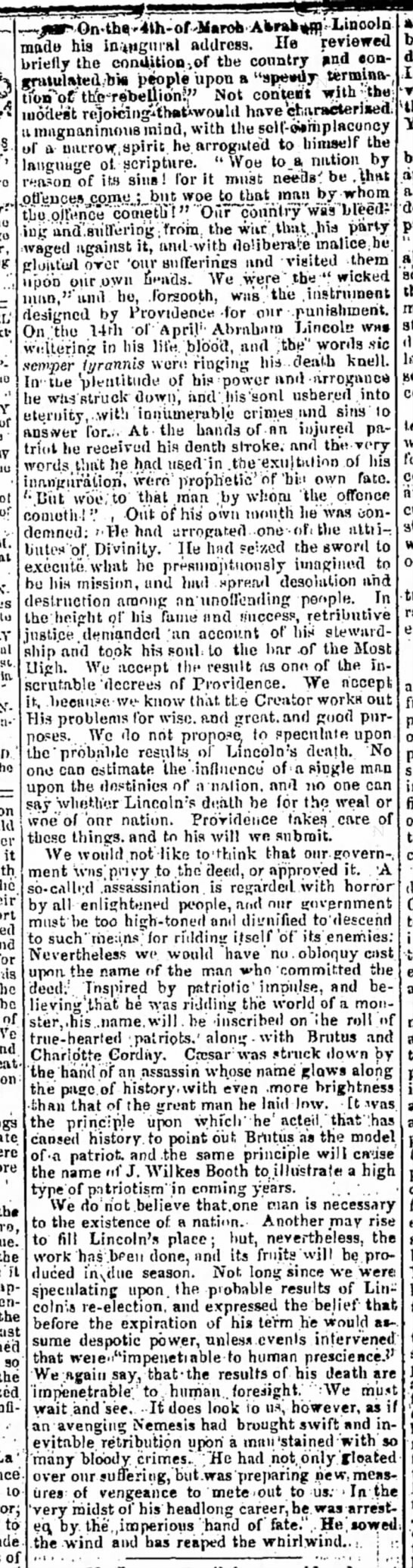 A Texas newspaper's editorial about the assassination of Abraham Lincoln -