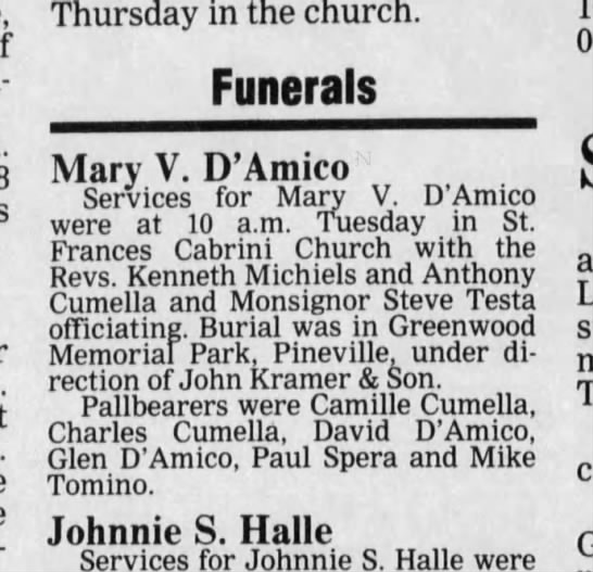 Mary V D'Amico Funeral Announcement -