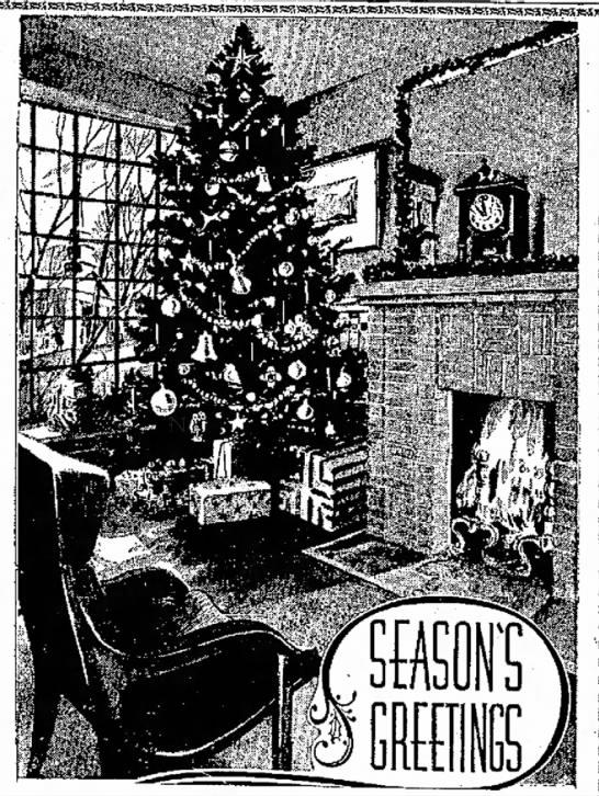 Season's Greetings with tree 1962 -