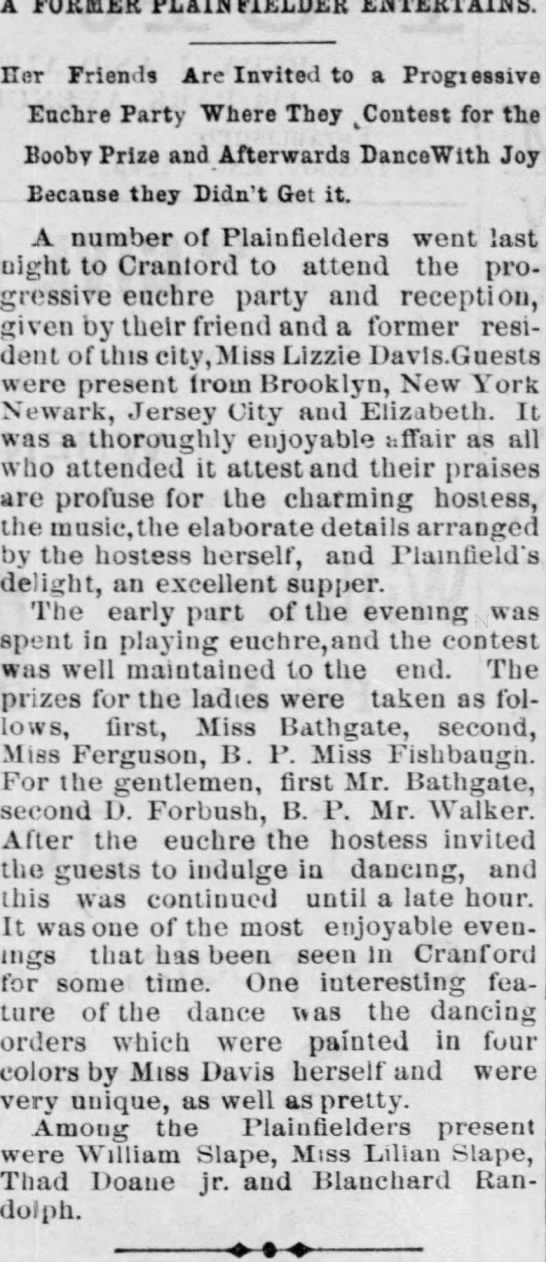 WILLIAM AND LILLIAN PARTY 1893 -