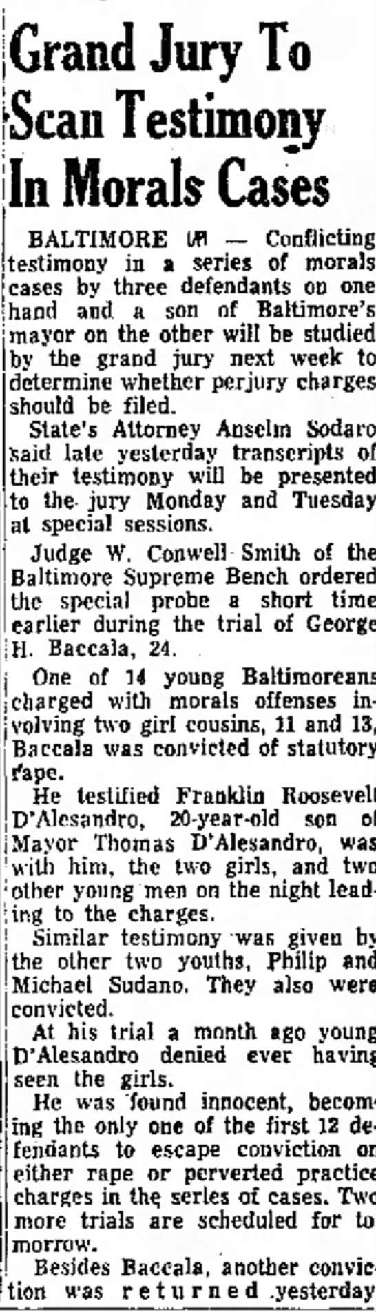 Grand jury investigation into 1953 Baltimore rape acquittal of Franklin D. Roosevelt D'Allesandro -