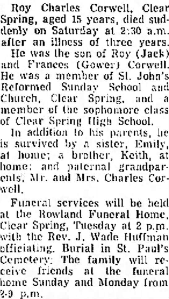 Roy Charles Corwell The Daily Mail - Hagerstown, MD  Dec. 9, 1961 -