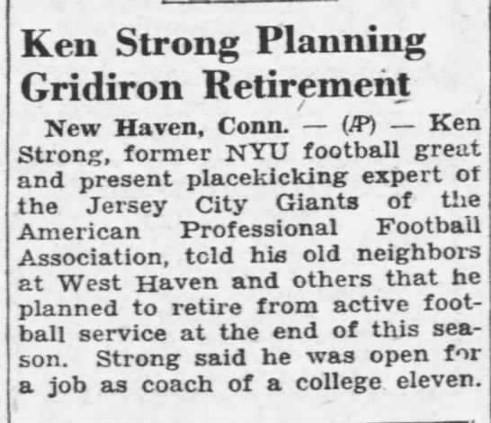 Ken Strong Planning Gridiron Retirement -