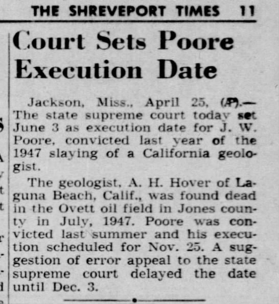 POORE execution date set 26 Apr 1949 Tues - Newspapers com