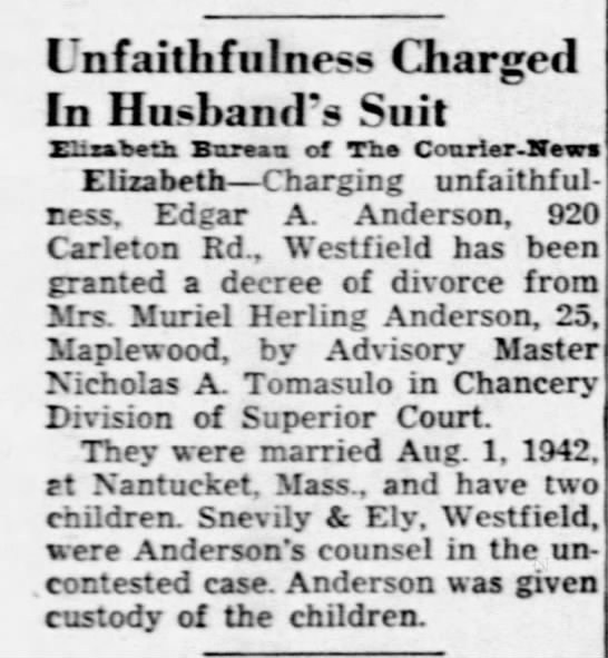 Anderson-Herling Divorce 15 Dec 1948 -