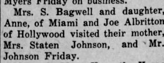 Article about daughters visiting: Proof that the Johnson Granny Albritton married was Staten Johnson -