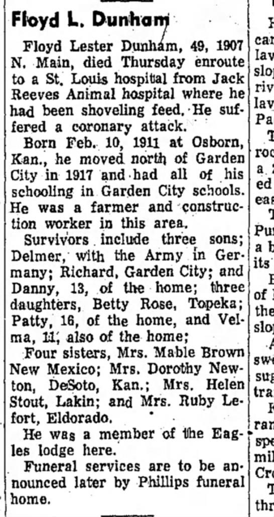 Floyd Dunham's Obit - Floyd L. Duntiarn Floyd Lester Dunham, 49, 1907...