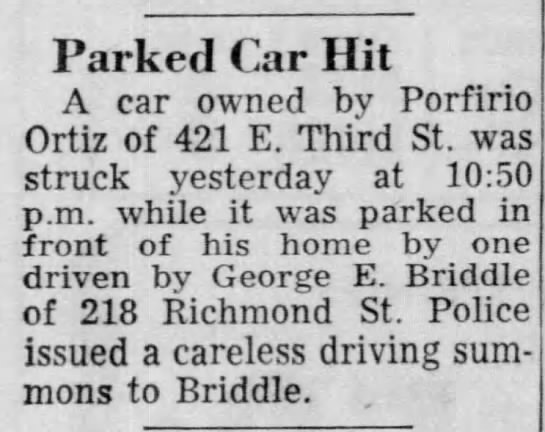 GEORGE BRIDDLLE CAR ACCIDENT -