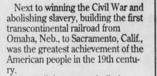 Transcontinental Railroad Great Achievement of 19th Century -