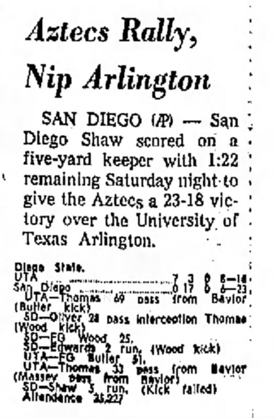 Aztecs Rally, Nip Arlington -