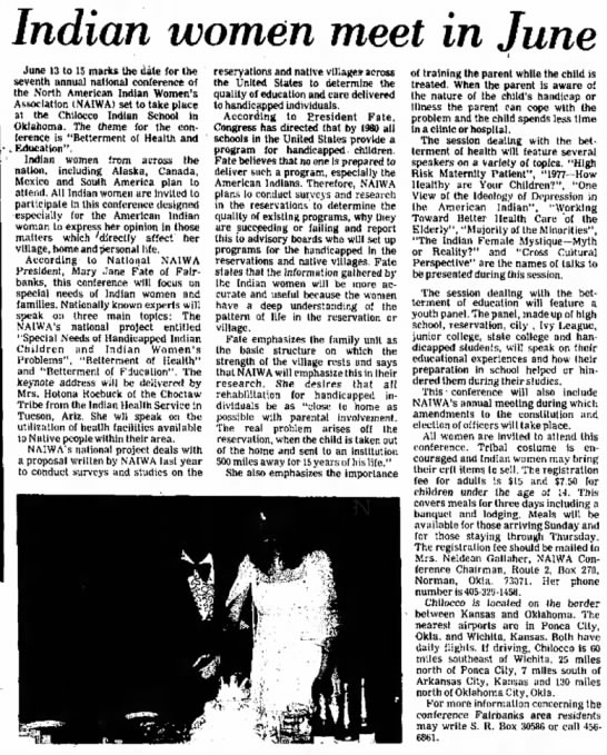 Indian women meet in June. Fairbanks Daily News Miner (Fairbanks, Alaska) May 25, 1977, p 10 -