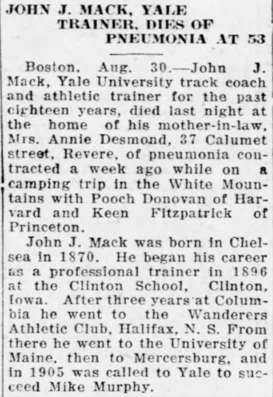 John J. Mack, Yale Trainer, Dies of Pneumonia at 53 -