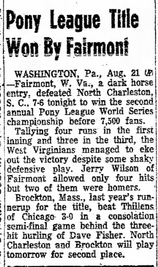 Pony League Title Won By Fairmont -