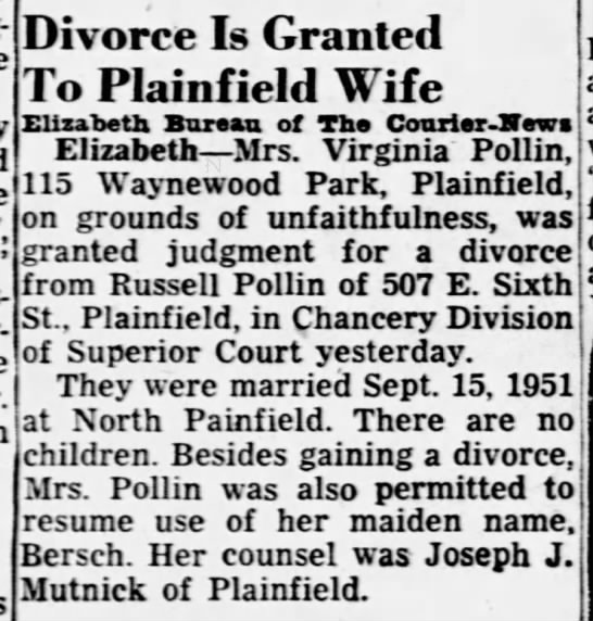Russell Pollin, Courier News (Bridgewater, NJ), Tuesday, 17 Nov. 1953, p. 6. -