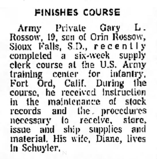 - -A of a)l FINISHES COURSE Army Private Gary L ....