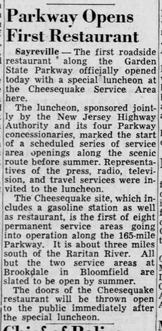 Cheesequake opens, May 12, 1955 -