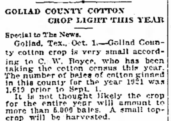 1920 census C. W. & Family was living in Victoria County. Goliad & Victoria share a county line. -