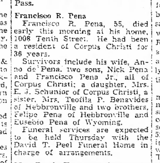 "Francisco ""Frank"" R Pena Sr. - obit - the Texas of the i to Junction through its r u..."