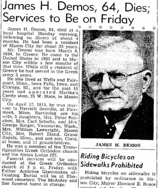 James H. Demos, 64, dies - Obituary -
