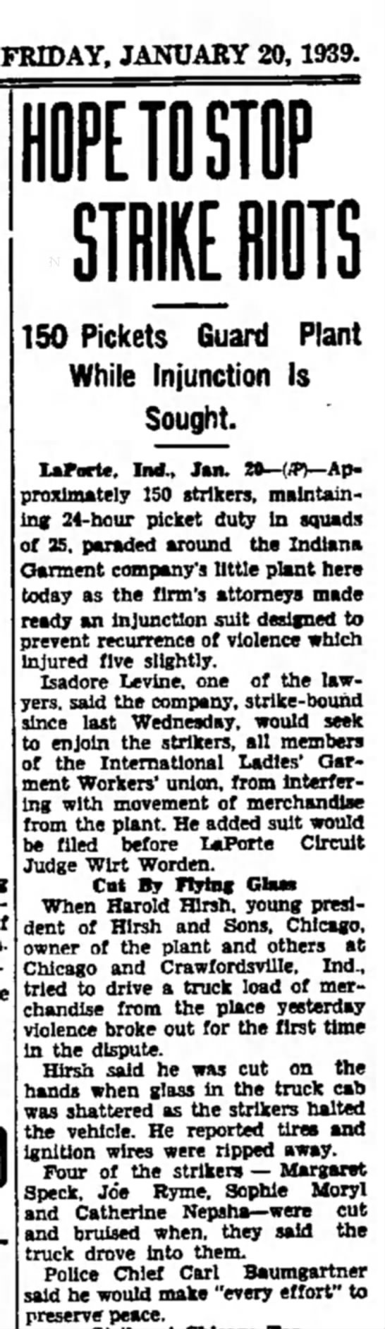 Ironwood Daily Globe 20 Jan 1939 - Catherine Nepsha -
