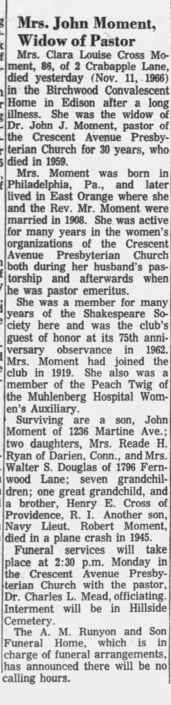 Obituary: Clara Louis Cross Moment (Aged 86) -
