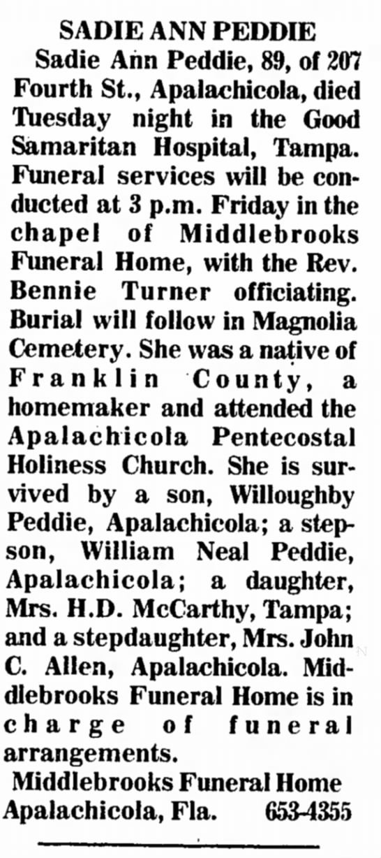 Grandma's Obituary -