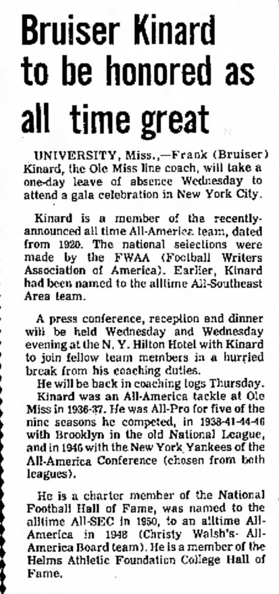 Bruiser Kinard to be honored as all time great -